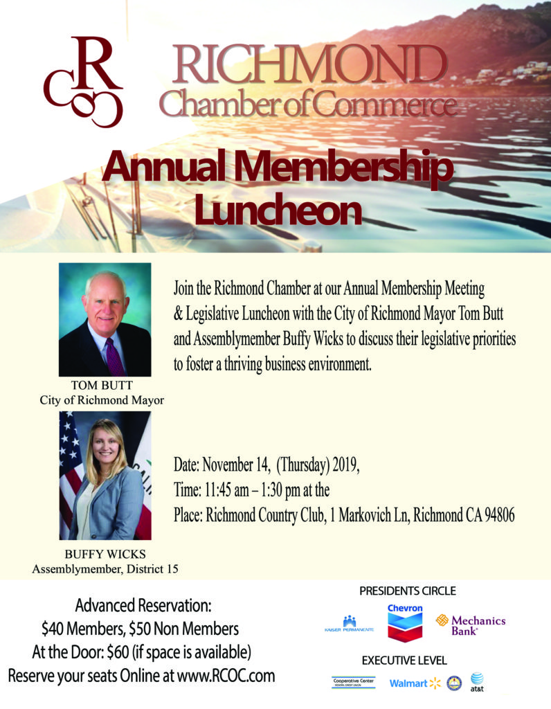 Annual Membership Meeting & Legislative Luncheon with the City of Richmond Mayor Tom Butt and Assembly-member Buffy Wicks